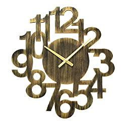 A.Cerco Large Retro Quiet Bronze Gold Unique Hollow Wooden Design Analog Wall Clock | 23x21x1.8 | Natural Vintage Style | Decor for Bedroom, Living Room, Kitchen, Study, Restaurant, Office