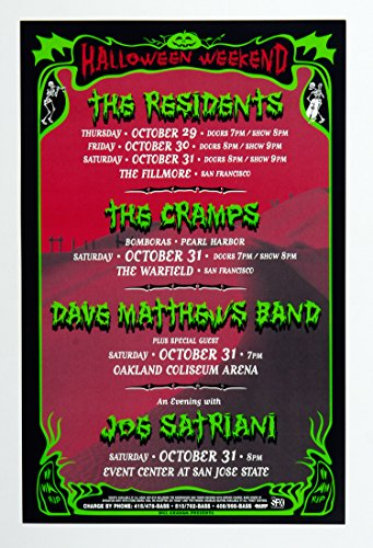 Halloween Weekend 1998 Bill Graham Presents Poster Dave Matthews Band Camps