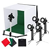 CRAPHY UPGRADE 16x16 inch/ 42x42cm Mini LED Photography Light Box Kit Portable Photo Studio Tent Cube Lighting - 4x50W LED Lamp,Tripod Stand,5 Backdrop Black/Blue/White/Red/Green for Video Shooting
