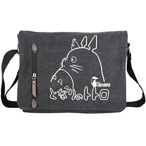 Innturt Anime Classic Messenger Bag Shoulder Bag Satchel (Totoro- Black)