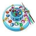 釣り おもちゃ 創造的なダブルフラッシュ釣りゲームおもちゃセット電子磁気回転釣りボード子供釣りゲームおもちゃ 青