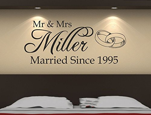 Beautiful Custom-made Personalized Mr&Mrs Wedding Romantic Wall Sticker Decal Removable Bedroom Art Vinyl Decor Decoration (Best Mr And Mrs Questions)