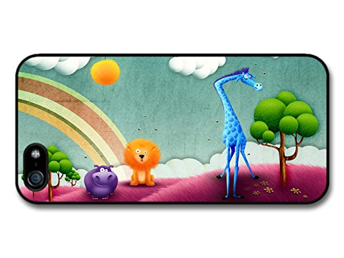 Animal Kingdom Giraffe Hippo & Lion Illustration coque pour iPhone 5 5S