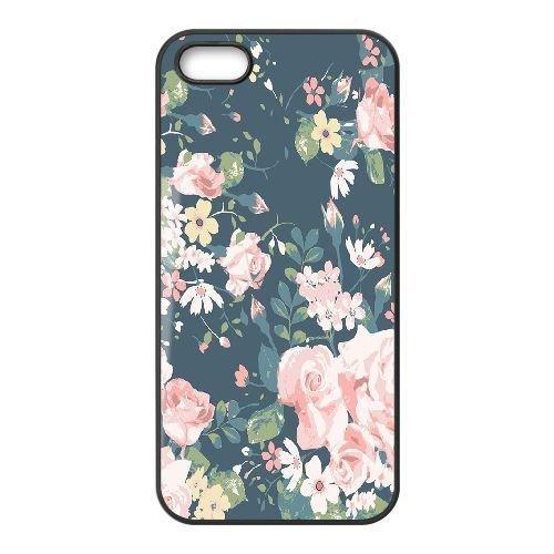 FDXGW627 iPhone 5 5s Cell Phone Case-black_Retro Flower (2)