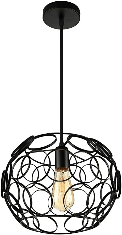 Industrial Cage One Light Pendant Light Litfad 12 6 Retro Black Finished Vintage Hanging Pendant Lamp Ceiling Pendant Fixtures Circles Design K Amazon Com
