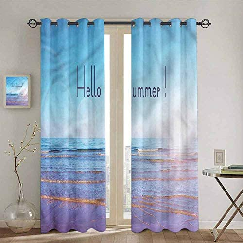 SONGDAYONE Summer Outdoor Curtain, Sunbeams August Holidays Curtains 84 inch Length Waterproof Fabric W108 x L84 Inch