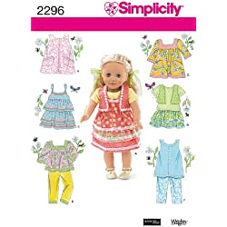 Simplicity Sewing Pattern 2296 Doll Clothes, One Size