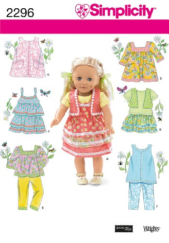 Simplicity Sewing Pattern 2296 Doll Clothes, One Size Doll Wardrobe Simplicity Patterns