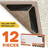 TUMELU 12pc Premium Large Size Anti Curling Carpet Tape Rug Gripper - Will Keep Rug in Place & Keep Corners Flat, Advanced with Yellow Capet Tape, Double Sided, Hard Plastic Center, 2X Adhesive