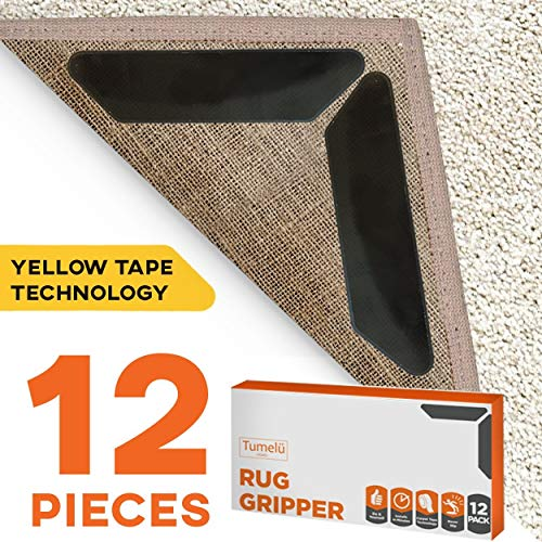 12pc Premium Large Size Anti Curling Carpet Tape Rug Gripper - Will Keep Rug in Place & Keep Corners Flat, Advanced with Yellow Capet Tape, Double Sided, Hard Plastic Center, 2X Adhesive, Reusable (Floor Rugs Area)