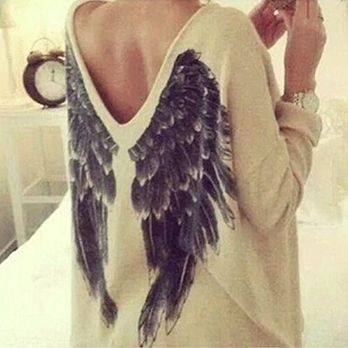 Wyhui OU Casual Ladies V-Neck Loose Oversized Angel Wing Blouse Tops Pullover Mini Dress (Blouse Angel)