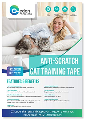 Furniture Any - EdenProducts Anti-Scratch Cat Deterrent Tape - Precut Stickers for Furniture, Doors, Curtains, and Any Other Needed Application - 10 XL Sheets of 17 x 12 Inches Clear Residue Free Protective Tape