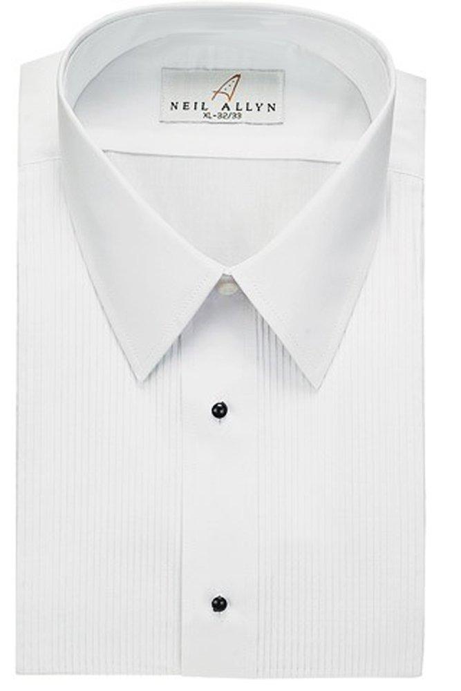 Tuxedo Shirt - Laydown Collar 1/8 Inch Pleat Laydown Collar (S: 14.5 - 32/33, White)