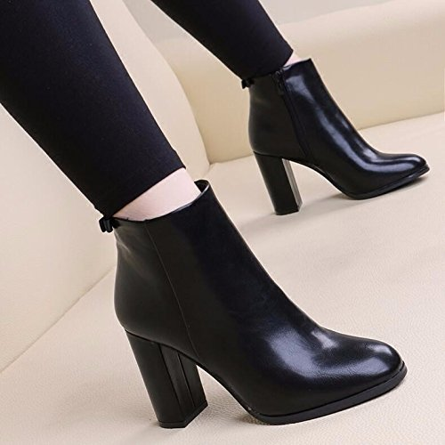 Thin Retro 9Cm Video Martin Boots Stylish With Heeled Female Bare High 35 Boots KHSKX Wild Party Head Tide Thick Air Boots Black qfCEIxZg