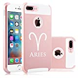 Apple iPhone (7 Plus) Shockproof Impact Hard Soft Case Cover Aries Zodiac Horoscope Birth Sign (Rose Gold-White)