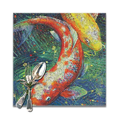 Scarlett Life Hall Art Painting Brocade Carp Good LuckDecorative Polyester Placemats Set of 6 Printed Square Plate Cushion Kitchen Table Heat-Resistant Washable Dining Room Family Children ()