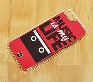 1888998123746 [Global Case] La música es mi vida Radio DJ CD Casete Grabadora Boom Box Pasión Instrumento Guitarra Piano Acústico Me encanta la música Club (NEGRO FUNDA) Carcasa Protectora Cover Case Absorción Dura Suave para Apple iPhone 6