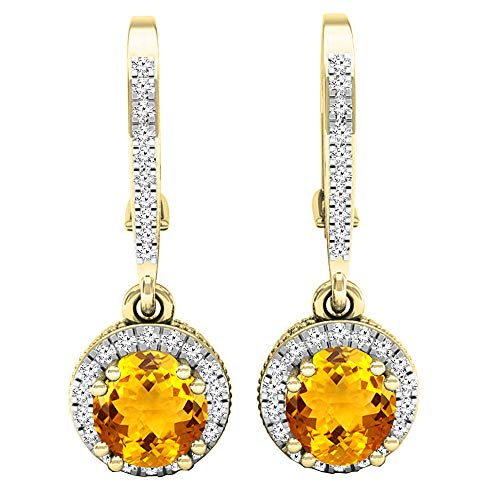 Dazzlingrock Collection 18K 5.5 MM Round Citrine & Diamond Ladies Halo Style Dangling Drop Earrings, Yellow Gold
