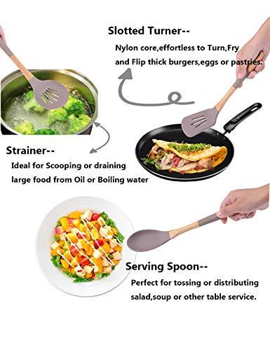 horoya Ivory-White Silicone Cooking Utensils 7 Kitchen Utensils Set for Nonstick