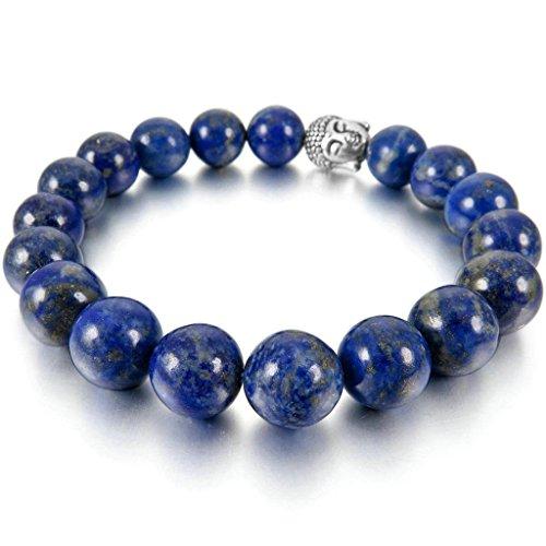 Men Women's 10mm 12mm Alloy Bracelet Link Wrist Lapis Lazuli Buddha Mala Beads Blue Silver