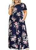 Nemidor Women Short Sleeve Loose Plain Casual Plus Size Long Maxi Dress with Pockets (143+NavyPrint, 20W)