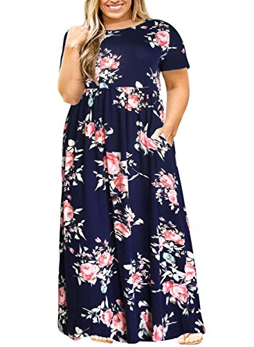 Nemidor Women Short Sleeve Loose Plain Casual Plus Size Long Maxi Dress with Pockets (143+NavyPrint, 26W)