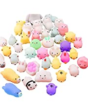 50 Pcs Mochi Squishies Kawaii Squishy Toys Easter Party Favors Animal Squishies Stress Relief Toys Birthday Gifts for Boys & Girls Random