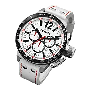 TW Steel CE 1013 - Reloj cronógrafo de caballero con correa de piel blanca