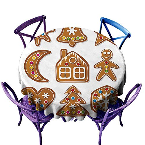 AndyTours Tablecloth for Kids/Childrens,Gingerbread Man,Set of Graphic Gingerbread Sugar Biscuits with Colorful Dots and Bonbons,Party Decorations Table Cover Cloth,50 INCH ()