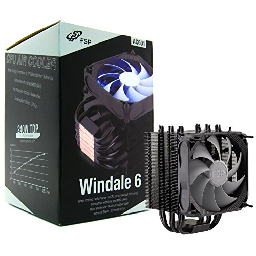 FSP Windale 6 CPU Cooler 6 Direct Contact Heatpipes 6mm Black Aluminum Alloy with 120mm Blue LED PWM Fan (AC601) ()