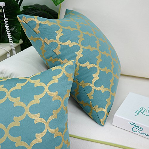 Pack of 2 CaliTime Soft Throw Pillow Covers Cases for Couch Sofa Home Decor, Modern Quatrefoil Accent Geometric, 18 X 18 Inches, Teal/Gold