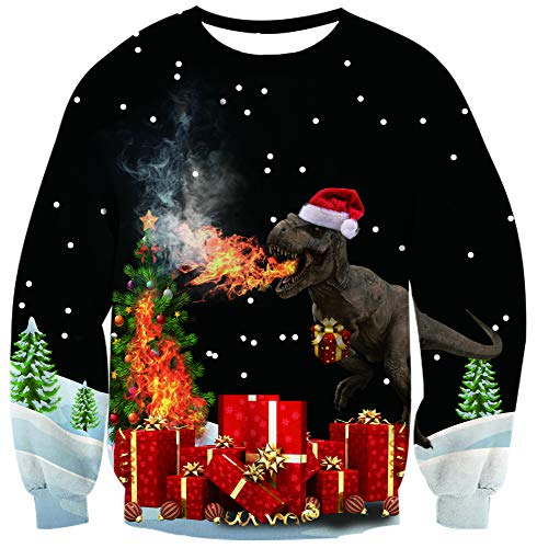 Belovecol Mens Women Funny Casual Christmas Sweater Cool Dinosaur Graphic Pullover Sweatshirts Funny Novelty Costumes Large