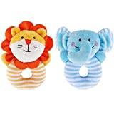 MinYn Infant Baby 2pcs Elephant and Lion Soft Cotton Rattle Animal Ring Plush Grasping Toy Set for Toddler kids