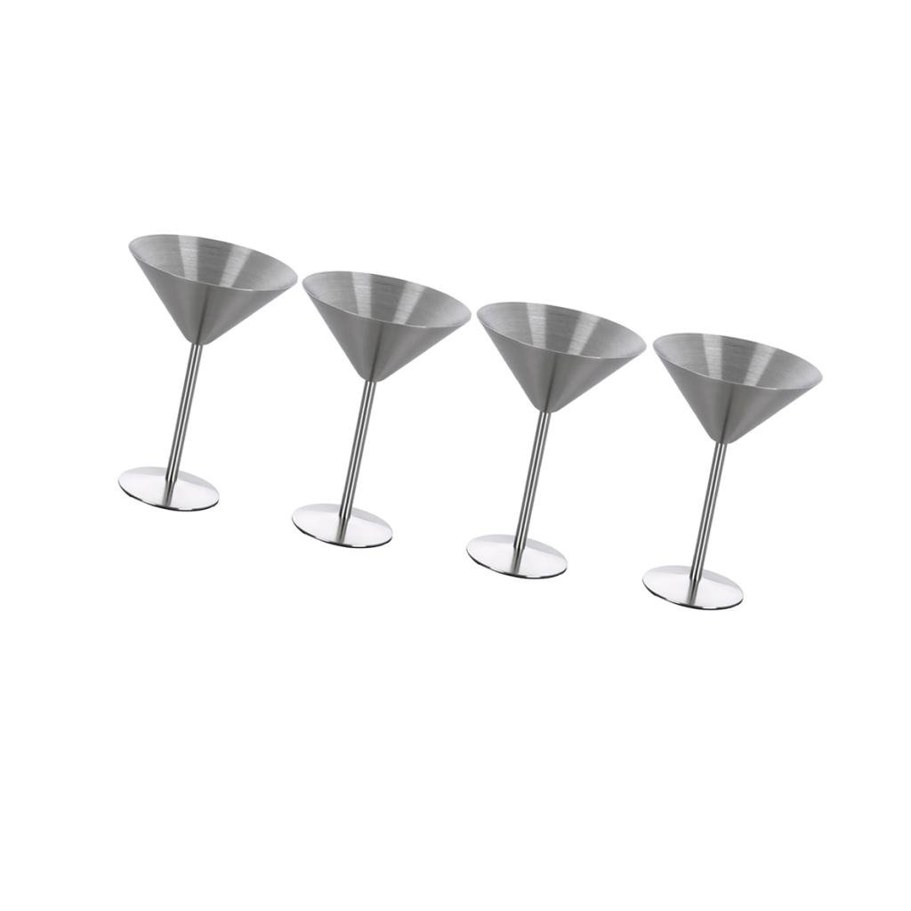 MonkeyJack 4pcs Martini Drinking Stainless Glass Goblet Cup Mug Glasses Wine Party Tool