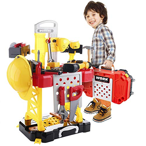(Young Choi's 110 Pieces Kids Construction Toy Workbench for Toddlers, Kids Power Workbench Construction Tool Bench Set with Toy Tool Drill and Helmet, Boys Toy Work Shop Tools Workbench for Toddlers)
