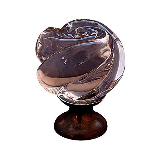 Premier Hardware Designs CR-4100-ANT COP Rose Shaped Clear Crystal Knob with Pewter Base, Antique ()