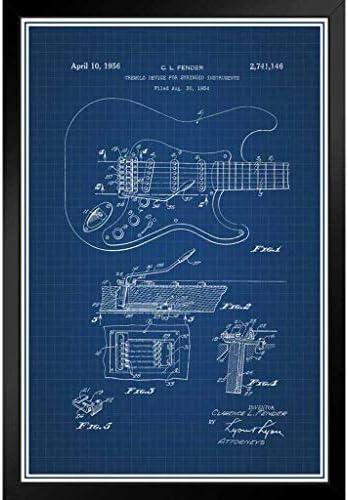 ポスター - エレクトリックギターの公式特許の青写真アートパネル 印象派 壁掛け 絵画 - 33*23cm(額縁を送る)