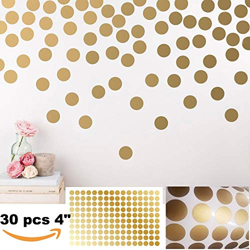BATTOO Peel and Stick Gold Wall Decal Confetti Polka Dots - 4 inch 30 pcs - Safe for Walls & Paint - Metallic Gold Vinyl Round Circle Art Wall Stickers Large Sheet Baby Nursery Room Set
