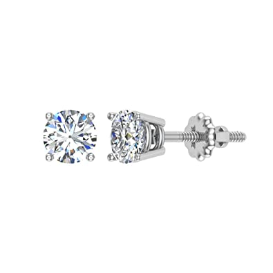 49b6d302bbb54 14K Gold Diamond Stud Earrings Round Brilliant Earth-mined (G,VS1)  Signature Rare Quality