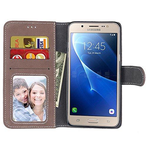 SRY Caja de la cartera de cuero superior de la PU con la ranura para tarjeta de la cubierta protectora folio de la caja del tirón del soporte para Samsung Galaxy J5 2016 J510 ( Color : Brown ) Brown