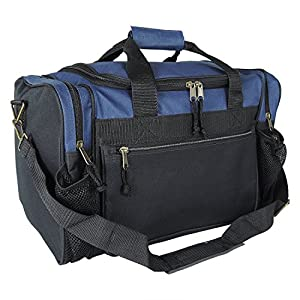 "DALIX 17"" Duffle Travel Bag with Water Bottle Mesh Pockets in Navy Blue"