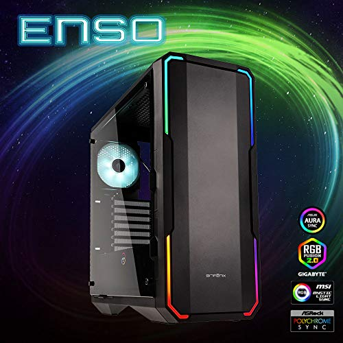 BitFenix Enso Black, ATX Case Tempered Glass, Alchemy 3.0 Addressable Asus Aura SYNC RGB with Controller BFC-ENS-150-KKWGK-RP