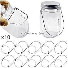 Mason Jar Hanger, Stainless Steel Wire Handles (Handle-Ease) for Mason,Ball,Kerr,Golden Harvest,Kilner Canning Jars (Regular Mouth, 10Pack-Silver Stainless Steel)