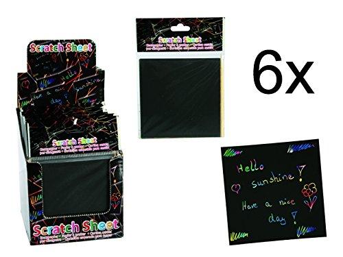 6x Kratzpapier Block für 24 Kratzbilder inkl. Bambusstab - tolles Give Away, Mitgebsel