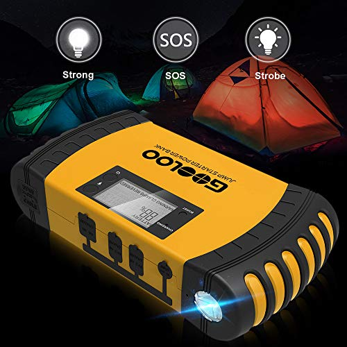 GOOLOO 1000A Peak 20800mAh SuperSafe Car Jump Starter with USB Quick Charge 3.0 (Up to 8.0L Gas, 6.0L Diesel Engine) 12V Auto Battery Booster Portable Charger Power Pack Built-in Smart Protection by GOOLOO (Image #3)
