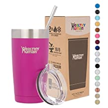 Healthy Human Insulated Stainless Steel Tumbler Cruisers - Travel Cup with Lid & Straw - Vacuum Double Walled Thermos - Idea for Coffee, Tea & Water 20 oz. Mulberry