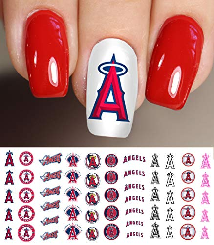 Los Angeles Angels Baseball Waterslide Nail Art Decals - Salon - Baseball Anaheim White