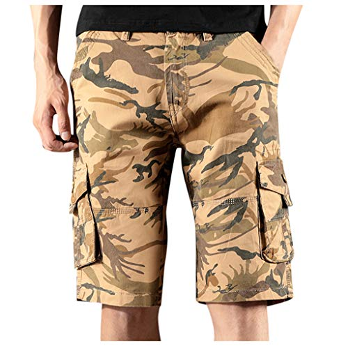 LUCAMORE Men's Summer Casual Regular Fit Multi-Pocket Cargo Work Shorts Outdoor Wear Camouflage