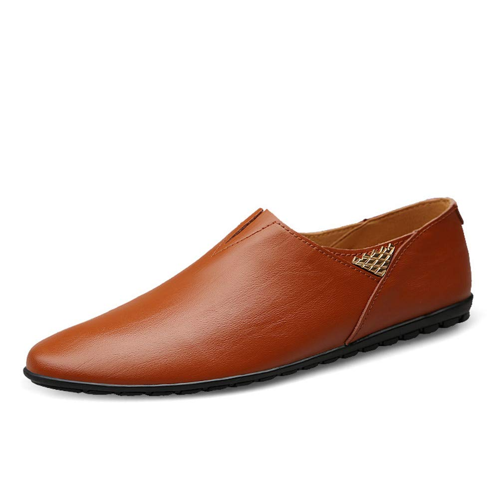Red Brown JIALUN-shoes Men's Fashion Genuine Leather Loafer shoes Slip On Soft Walking Driving Moccasins shoes
