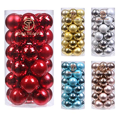 Sea Team 30ct Christmas Ball Ornaments Shatterproof Christmas Tree Baubles Decorations with Tied Strings for Holiday Wedding Party Decor, Glitters-free Easy to Clean, 1.97/50mm, Red
